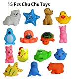 #3: KP Sales Chu Chu Todler Baby Kids Bath Toys Non-Toxic Animal Shapes Sound, Set Of 15 Piece, Assorted Color