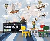 Tapeten Wandbild WandaufkleberIndividuelle Tapete Prägeartige Cartoon Flugzeuge Fliegen In Den Himmel Foto Wandabdeckung Für Kinderzimmer Tv Sofa Hintergrund, 350 * 245 Cm