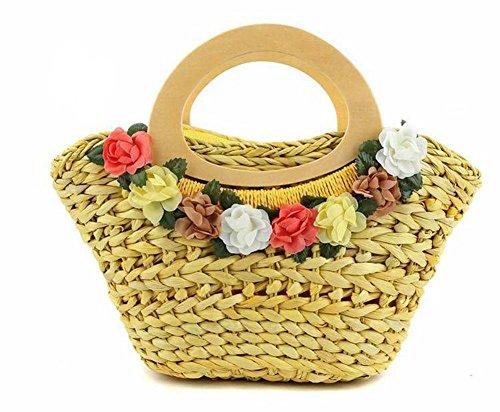 Cornflakes Tessuti a mano manico in legno intrecciato a mano Fiori Fata Erba pacchetto dolce Tote , rose red Yellow