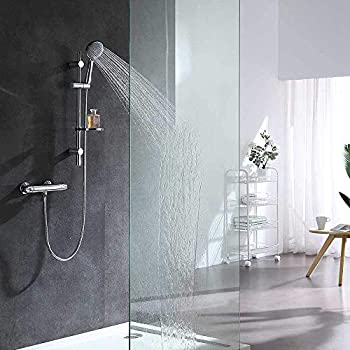 Sfeomi 200MM 8Inch Twin Head Square Thermostatic Mixer Shower Valve Brass Bathroom Shower Mixer 38 /°C Thermostatic Bath Shower Mixer with Overhead Rainfall and Handheld Shower Shower System