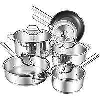 Batterie de cuisine induction, 10 pièces, résistantes à la rouille et au four, poignées rivetées/Non PFOA/des gants de cuisine gratuits