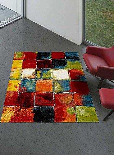 UN AMOUR DE TAPIS - Tapis moderne 208 - Tapis chambre belo - noir, vert,  bleu, rouge, orange - 120 x 170 cm