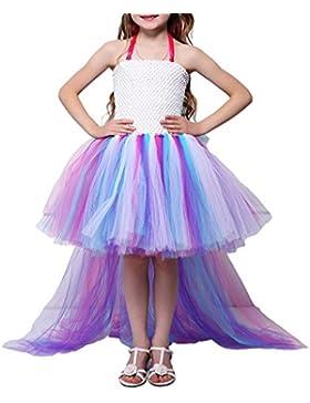 Pettigirl Niñas Princesa Pequeño caballo Vestido de tutú unicornio Arco iris Fiesta de cumpleaños Disfraz Vestido...