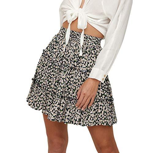 c4d384939 Pantalón Corto de Playa con Estampado Floral con Volantes y Cintura Alta de  Bohe 2019 Verano Invierno Falda de Mujer