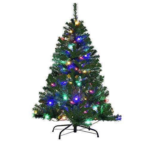 COSTWAY Weihnachtsbaum Künstlicher Tannenbaum mit LED-Lichterketten Christbaum beleuchtet 120/180/210/240/270cm Grün (120CM)