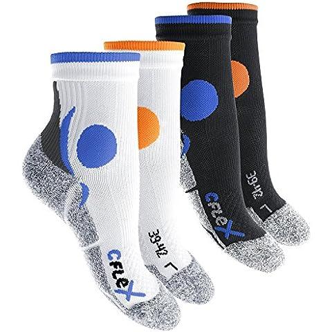 CFLEX - 4 pares de calcetines para correr unisex - Amortiguadores, protectores, de apoyo y transpirables - Gran calidad celodoro - Tallas de la 35 a la 46