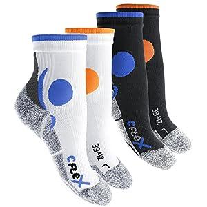 CFLEX Damen und Herren Running Funktions-Socken (4 Paar) Laufsocken