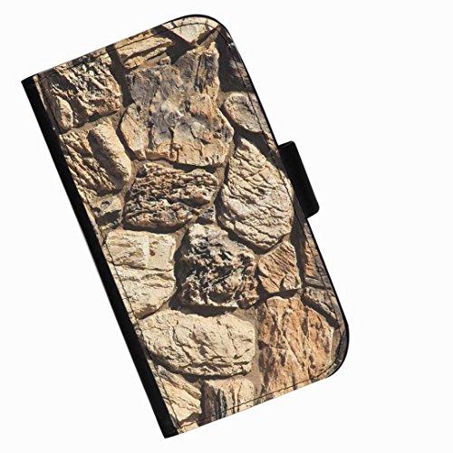 Hairyworm - Brown Steinmauer Blackberry 9720 Leder Klapphülle Etui Handy Tasche, Deckel mit Kartenfächern, Geldscheinfach und Magnetverschluss.