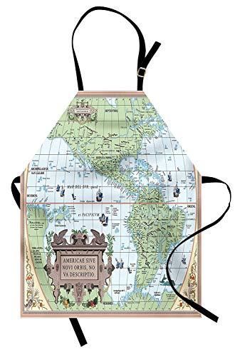 Moderne Schürze, Karte von South Middle North America Geographie unter dem Motto Western Discovery Design Print, Unisex-Küchenschürze mit verstellbarem Hals zum Kochen Backen Gartenarbeit, ()