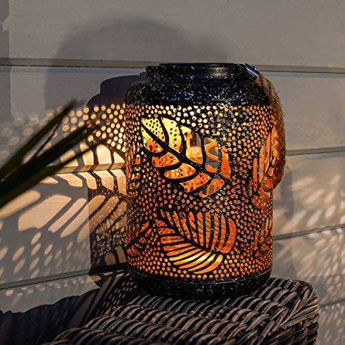 Festive Lights Solarleuchte für den Außenbereich, LED-Laterne, wasserdicht, Tischlampe mit Silhouette, Bronzefarben