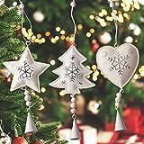 Gudotra Addobbi di Natale Oggetti da Appendere di Metallo con Campana Modelli Albero di Natale Stella Cuore Ornamento per Decorare Albero di Natale