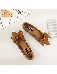 Xue Qiqi Sugerencia Calzado Plano de luz Plana con Pajarita Plana con Solo Zapatos Mujer Zapatos Bajos con Parte...