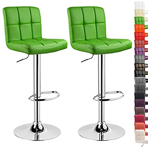 WOLTU 9168 2x Bar Stools with PU Seat Kitchen Counter Stool, Adjustable Swivel Gas Lift,Seat Height: 60-82cm,Green