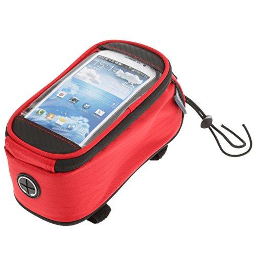 Vélo VTT Sac Pochette Sacoche de Cadre Ecran Tactile 4.8inch Téléphone Rouge