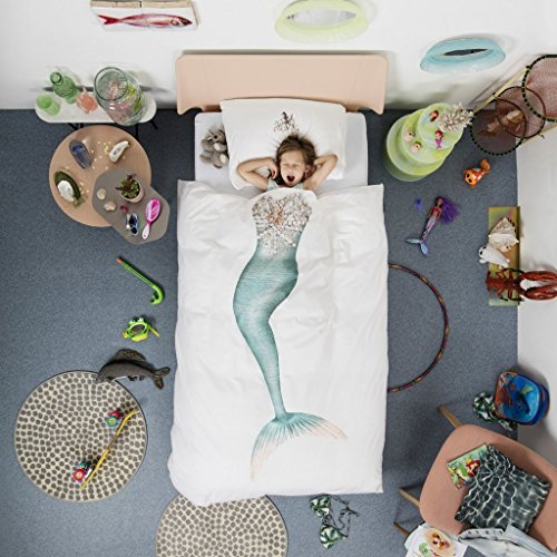 Snurk bambini biancheria da letto marmaid, percalle, bianco/Multi, Cotone, Bunt, 135 x 200 cm + 80 x 80 cm