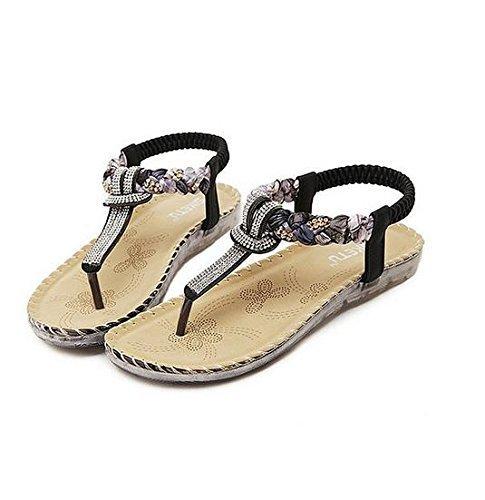 Minetom Damen Sommer Cool Süß Böhmen Stil Strass Flache Schuhe Sandalen Thong Sandals Schwarz