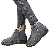 Tatis Shoes Wildleder Kontrastnaht Reißverschluss Stiefeletten Frauen Flache Runde Kappe Wildleder Schuhe Bequeme Sohlen Reißverschluss Halten Warme Schuhe