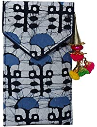 Batic Prints Hand Mobile Cover With Back Zip Pocket And Latkan For Women-Blue Print
