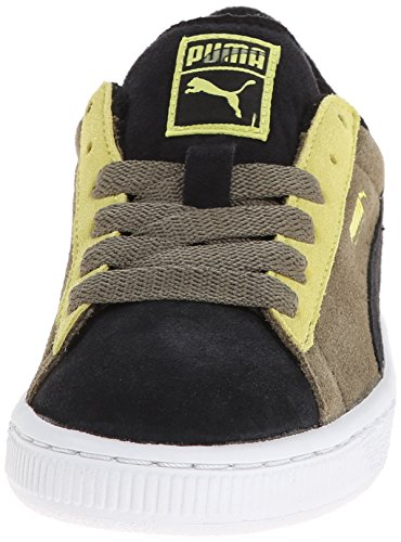 Puma Suede Black Green Youths Trainers Black Green
