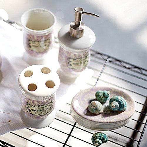HJKY bathroom accessories set Amerikanische Pflegeprodukte Kit mit 5 Keramik Putzlappen Schale spülen cup Waschflasche Hochzeitspaket Produkte, Badewanne 4-teiliges Set