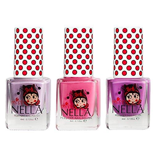 Miss Nella Little Poppet, Rosa A Boo, Schmetterling Flügel GLITTER Special Glitzer Kinder Nagellack mit Peel Off auf Wasserbasis ()