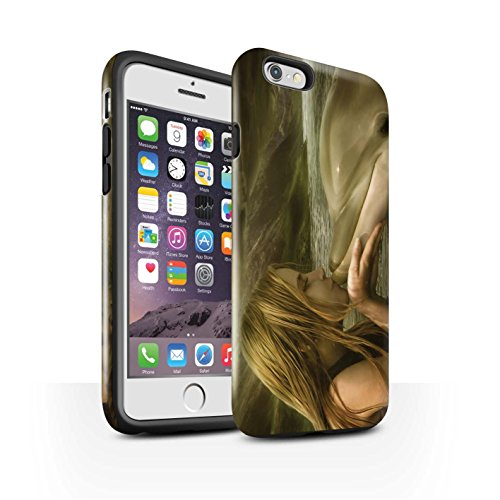 Officiel Elena Dudina Coque / Brillant Robuste Antichoc Etui pour Apple iPhone 6S / Poissons d'Or Design / Agua de Vida Collection Sonrisas/Dauphin