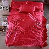 Vierteilige Set Seide,Volltonfarbe Atmungsaktive Bettdecke Luxus Weichen Deckblätter 1.8m Beding-V 120x200cm(47x79inch)