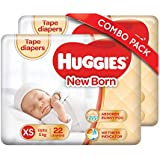 Huggies New Born Taped Diapers Combo Pack of 2, 22 Counts Per Pack (44 Counts)