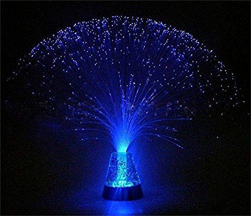 TankerStreet LED Faser-Optik Lampe mit Glasfasern Glasfaser-Lampe Batteriebetrieben Nachtlicht Tischlampe für Halloween Geburtstag Weihnachten Valentinstag Hochzeit Party Schlafzimmer Dekor Blau