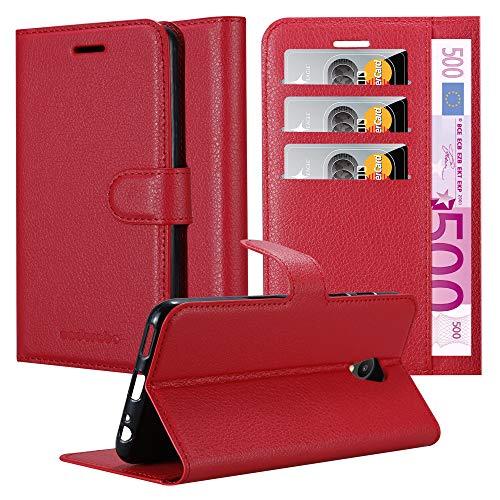 Cadorabo Hülle für MEIZU M6S - Hülle in Karmin ROT - Handyhülle mit Kartenfach & Standfunktion - Case Cover Schutzhülle Etui Tasche Book Klapp Style