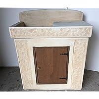 Lavabo de hormigón, fregadero, mueble de madera, tamaños: 84 x 44 101