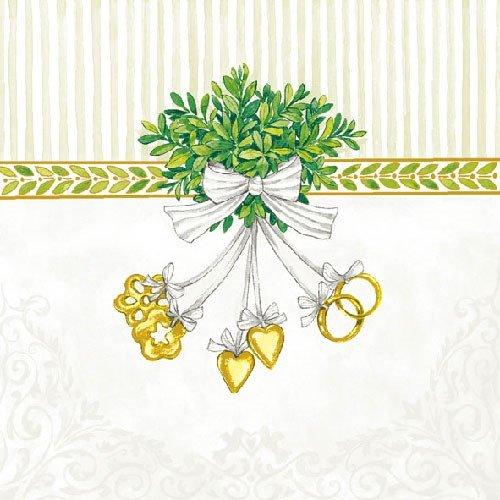 40x Lunch Servietten 33x33cm Wedding Symbols Hochzeitssymbole Ringe Hochzeit Tischdeko Kommunion Feier Fest