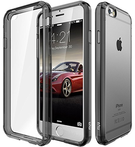 Elv Ultimate Protection Slim Scratch / Dust Proof Hybrid Transparent Back Case with Shock Absorbing Bumper case Cover for Apple iPhone 6s / iPhone 6 4.7 Inch - GREY