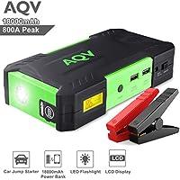 AQV 18000mAh 800A Jump Starter Avviatore Di Emergenza ,Torcia LED di Emergenza,Schermo LCD Doppia Porta USB Caricabatterie Portatile Batteria Perfetto per 5.2L i motori diesel o 6.5L benzina(Nero/Verde)