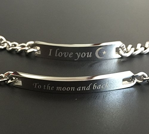 """COAI® """"I Love You und to The Moon and Back Schrift EIN Paar Silbrige Partner Ambänder aus Edelstahl"""