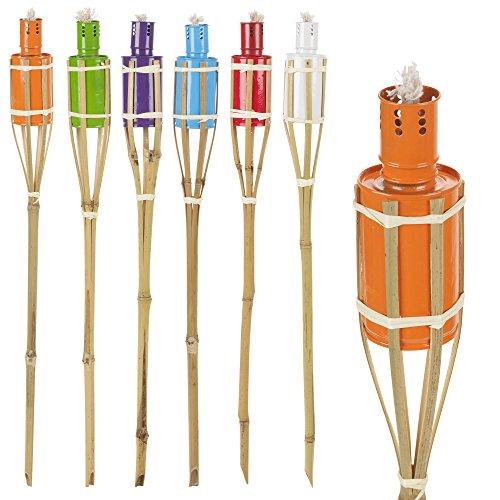 6 couleurs assorties de jardin à l'huile de paraffine Graveurs de lampes torches en bambou de 60 cm