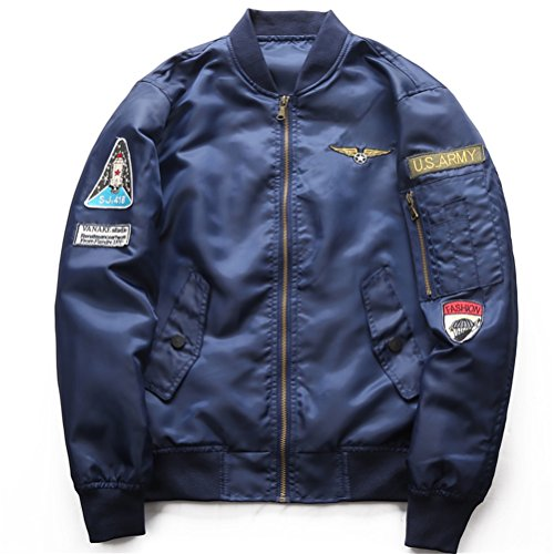 WS668 Herren Retro Modisch Mantel Klassisch Outdoor Piloten Jacke Mens Bomber Jacket 2781-Blau