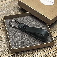 Green leather key chain drop shape ring keychain boyfriend fob holder clip keyring