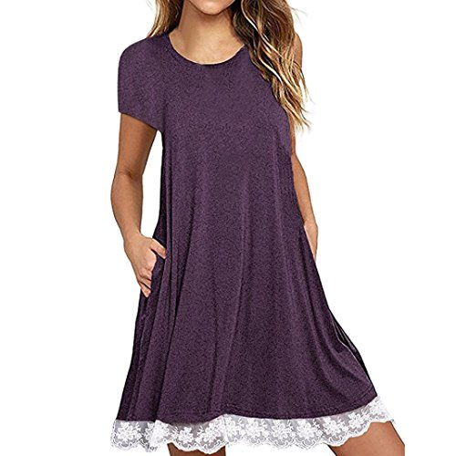 Lou Lou Damen Pullover (VJGOAL Damen Kleid, Damen Grundlegende O-Ansatz-Spitze-Kurzschluss-Hülse über Knie-Kleid-beiläufigem losem Partei-Strand-Kleid (2XL / 44, Violett))