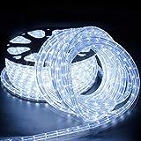 50 Mètres LED Tube Lumière Guirlande Lumineuse Tuyau Bande Extérieure et Intérieure Blanc Froid IP65 étanche