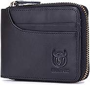BULLCAPTAIN Zipper Men Wallet Leather Bifold Antimagnetic RFID Blocking Wallets Card Holder