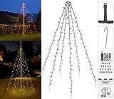 Fahnenmast Lichterkette - 360 LED`s, 10 Stränge a 8m, warmweisses Licht - Fahnenstangen Beleuchtung Weihnachtsdekoration Weihnachtsbaumbeleuchtung