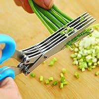 Gudelaa Multiusos Acero Inoxidable 5-Capas Tijeras Cocina Herramienta de Corte Rápido para Cutter Alimentos Carne Vegetal