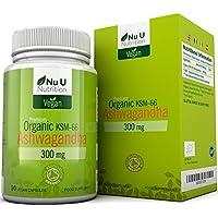 Cápsulas Veganas de Ashwagandha KSM-66 Orgánica de 300 mg | 90 Cápsulas - Suministro para 3 Meses | Ashwagandha.