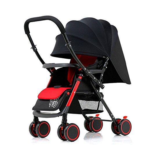 Travel Systems Kinderwagen Leichte Tragbare Faltbare Vier-Rad Push-Cart Kann Sitzen Liegen Regenschirm Kinderwagen Bb Car,Two-wayversion-Black