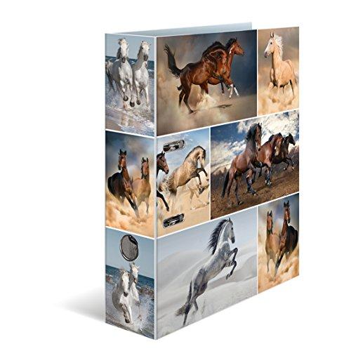 Herma 7164 Karton Motivordner DIN A4, Serie Tiere, Design Pferde, 70 mm breit, 1 Ordner, mit Innendruck