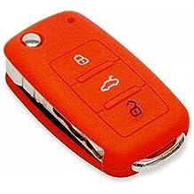 Funda de silicona con estuche para llaves de coche Volkswagen Passat, Golf, Bora, Polo, Lupo Skoda Octavia, Fabia, YETI Seat Ibiza Cordoba, rosso, universal