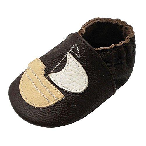 Yalion Baby Weiche Leder Lauflernschuhe Krabbelschuhe Hausschuhe Lederpuschen Segelboot (24-36 Monate, Dunkelbraun)