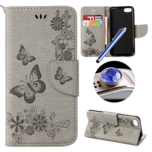 iPhone 7 Custodia in Pelle,iPhone 7 Cover Portafoglio,Etsue Colorate Dipinto Modello Style Flip Wallet Cover Case Con Magnetica Chiusura/Card Slot/Supporto Funzione,Libro Leather Pu Protettiva Case Co Pure Grey