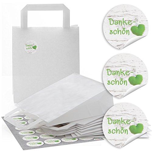 48 weiße Papier-Tüten mit Henkel Geschenktüten mit Boden 18 x 8 x 22 cm + 48 runde Aufkleber 4 cm in grün weiß mit Herz auf Holz DANKE-SCHÖN Verpackung Kunden Geschenke give-away Mitgebsel -